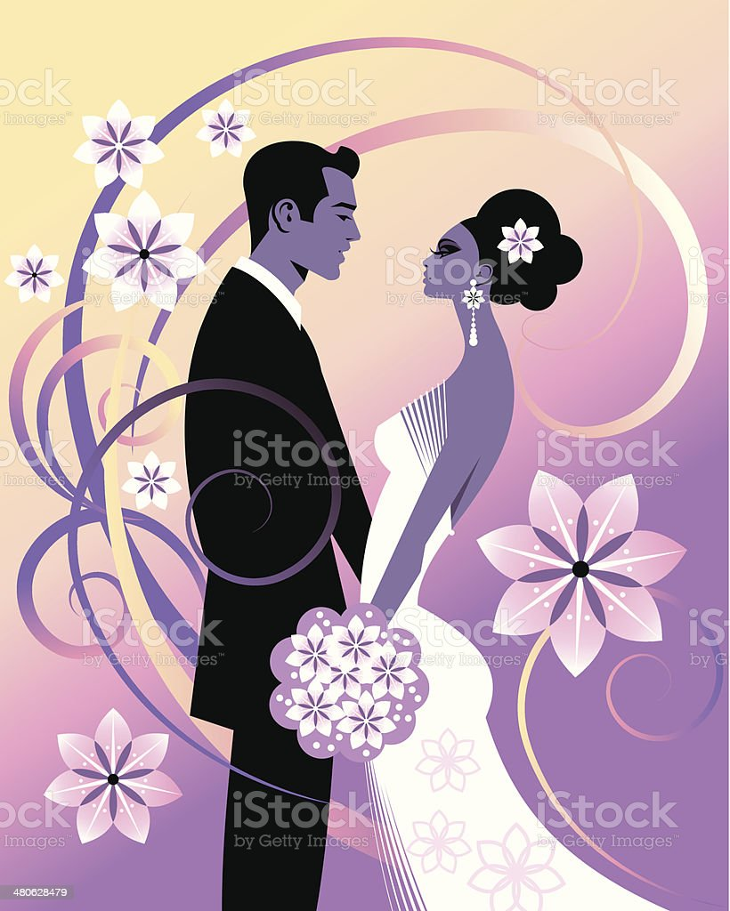 Wedding Couple C vector art illustration