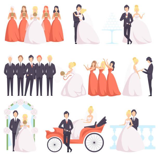 Wedding clipart wedding dresses and bridesmaid gowns by GemmedSnail, $5.00  #weddingclipart #bridalclipart #etsy | Wedding clipart, Be my bridesmaid  cards, Clip art