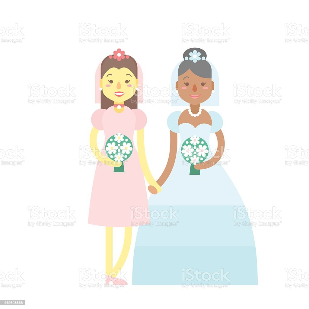 Wedding couple, cute flat characters, brides, happy  girls vector art illustration