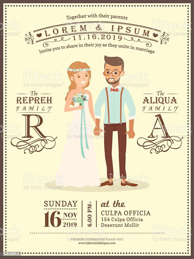 Wedding Couple Groom And Bride Cartoon Wedding Invitation Card