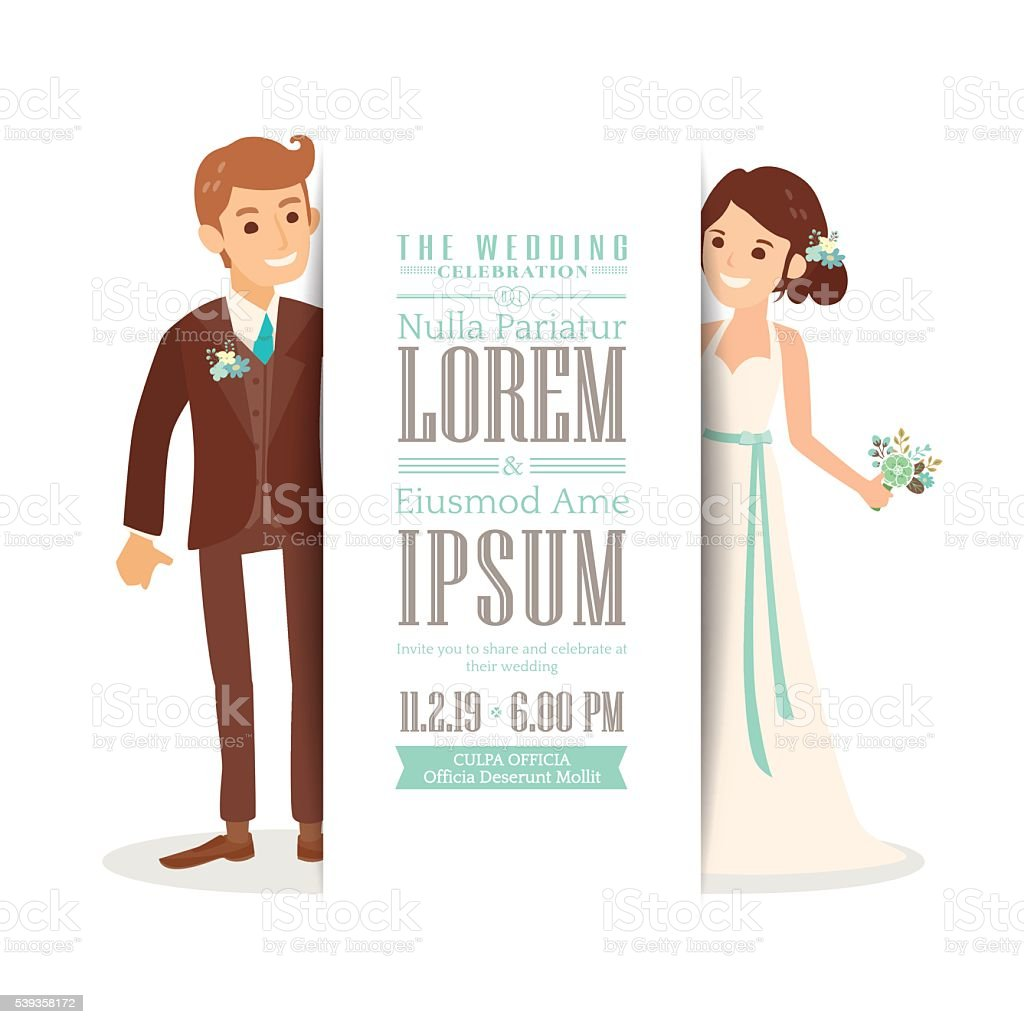 Wedding couple groom and bride on white background, invitation card vector art illustration