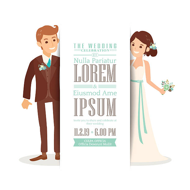 Wedding couple groom and bride on white background, invitation card Wedding couple groom and bride cartoon on white background, Wedding invitation card template bridegroom stock illustrations