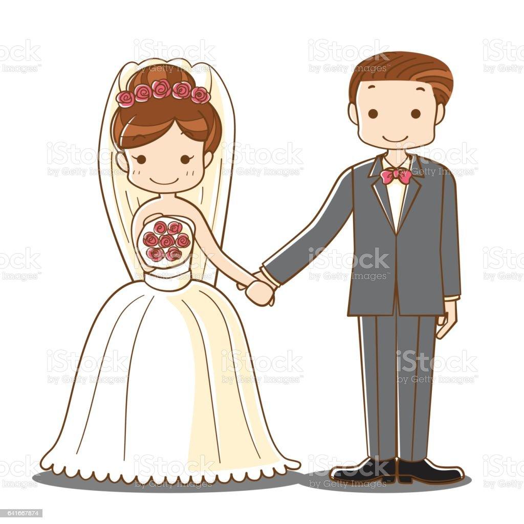 Wedding Couple Holding Hand Cartoon Stock Vector Art U0026 More Images Of Adult 641667874 | IStock