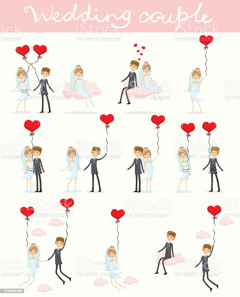 Wedding couple in love vector art illustration