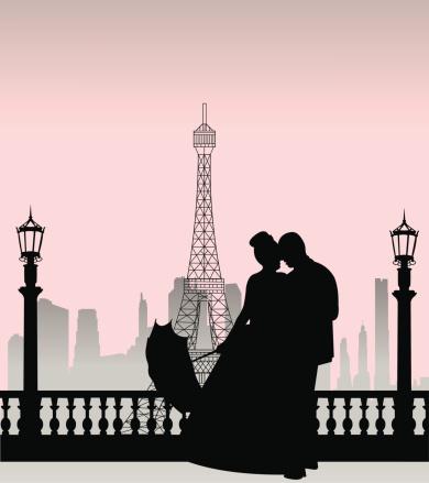 Wedding couple in Paris silhouette