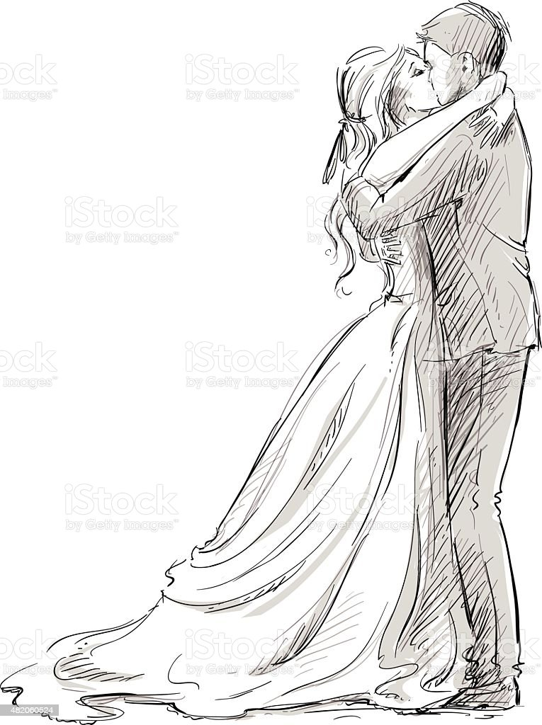 Wedding Couple Kiss Newlywed Vector Sketch Stock Vector Art U0026 More Images Of 2015 482060524 | IStock