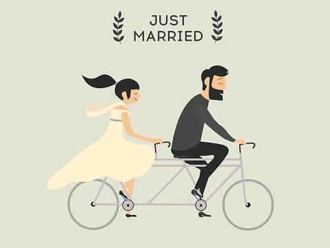 Wedding couple on bicycle