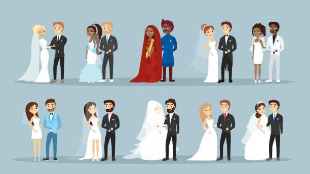 wedding couple set. - prom fashion stock illustrations, clip art, cartoons, & icons
