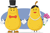 Two pears cartoon character as bride and groom