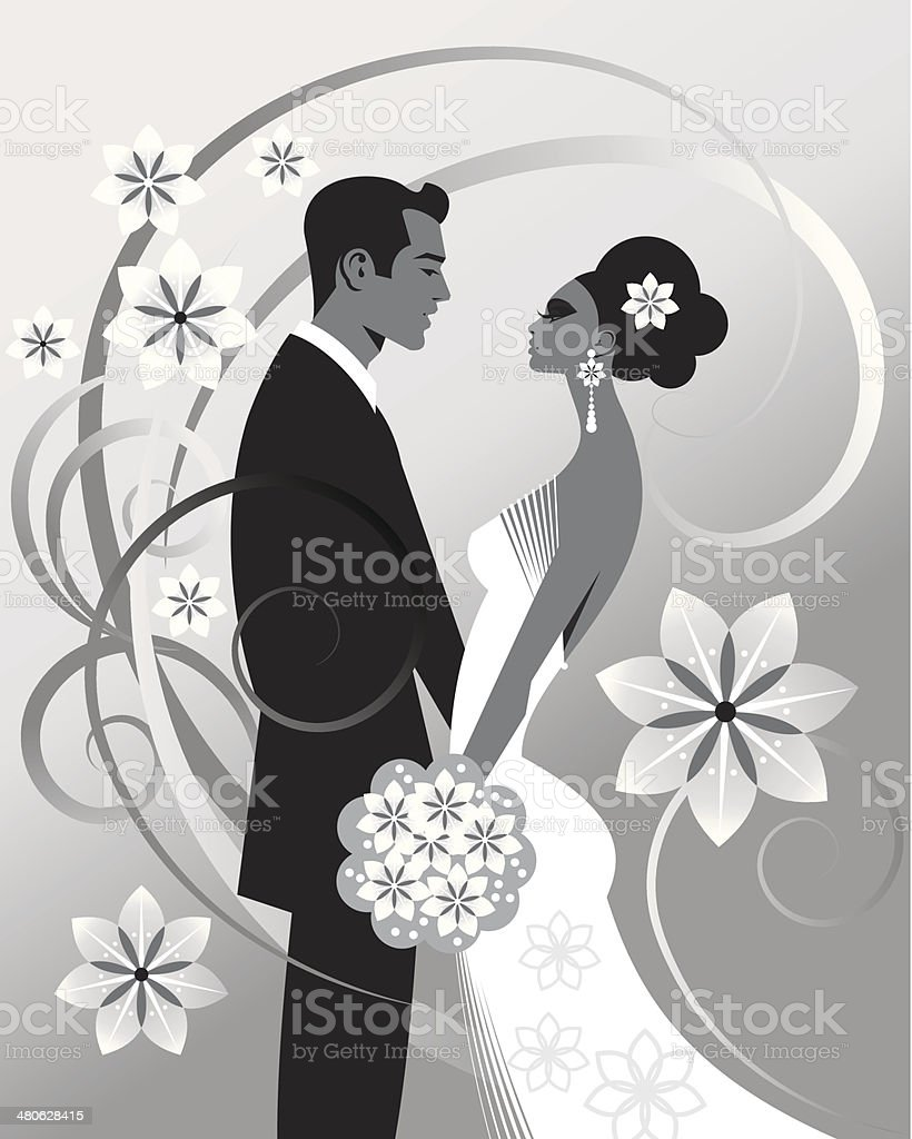 Wedding Couple vector art illustration