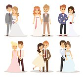 Wedding couple vector illustration