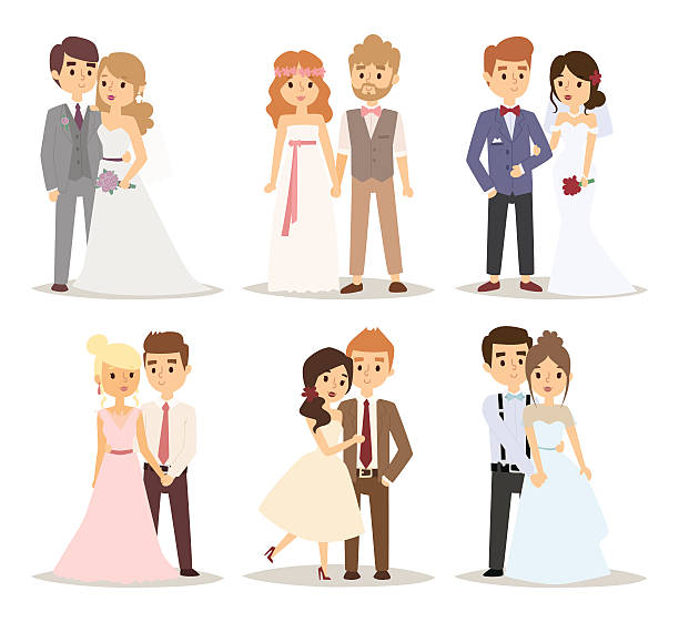 Wedding couple vector illustration Wedding couple vector illustration. Wedding couple isolated on white background. Wedding couple vector icon illustration. Wedding couple isolated vector. Wedding couple silhouette bridegroom stock illustrations