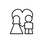 wedding couple with love in heart vector line icon, sign, illustration on white background, editable strokes