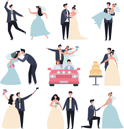 Wedding couples. Bride ceremony celebration wed day love groom marriage rings vector characters