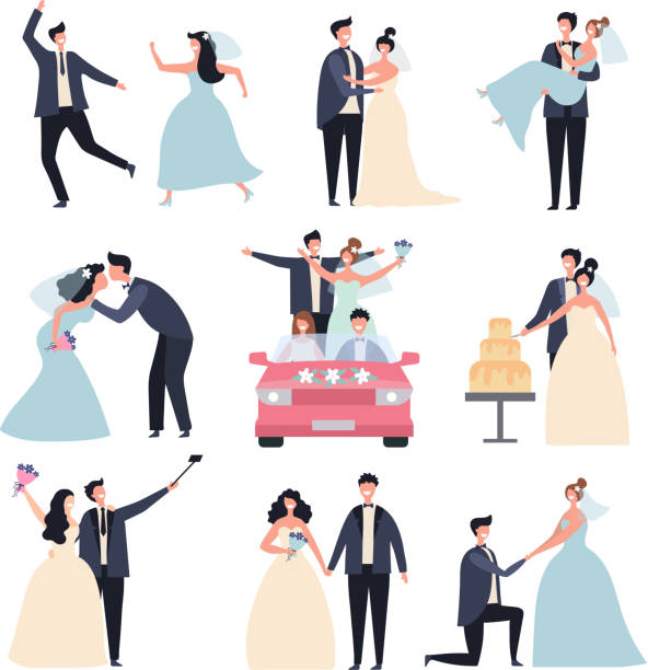 Wedding couples. Bride ceremony celebration wed day love groom marriage rings vector characters Wedding couples. Bride ceremony celebration wed day love groom marriage rings vector characters. Bride and groom, marriage love couple, celebration wedding ceremony illustration wedding cake stock illustrations