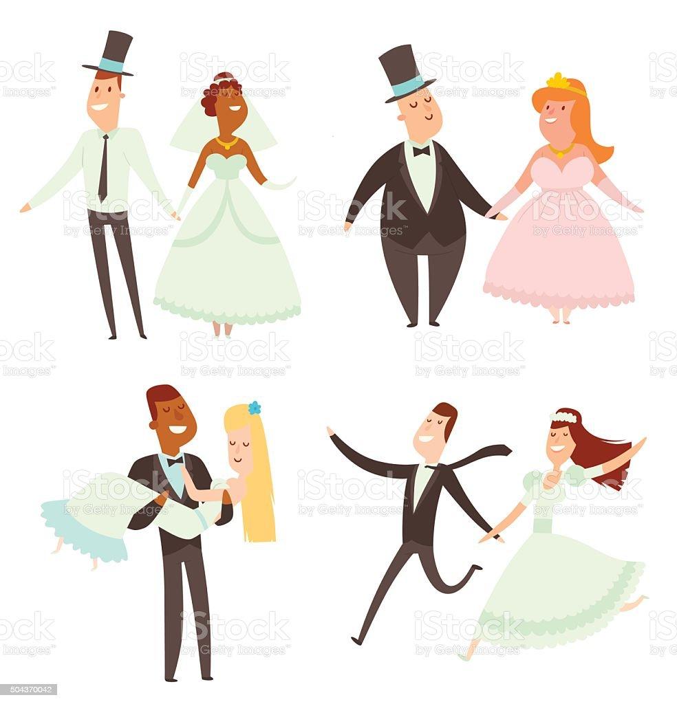 ウェディングカップルの漫画スタイルベクトルイラスト のイラスト素材