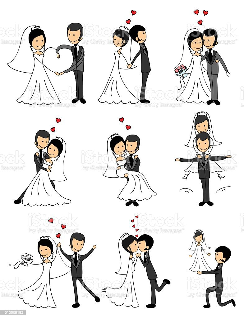 Wedding couples in love vector art illustration