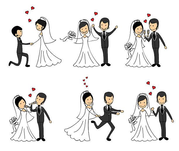 wedding couples in love - hochzeitspaare stock-grafiken, -clipart, -cartoons und -symbole