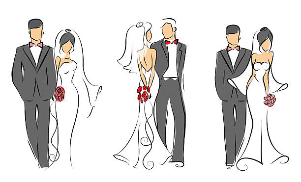 Wedding couples in love Set of wedding groom and bride, vector illustration for wedding invitations and cards bridegroom stock illustrations