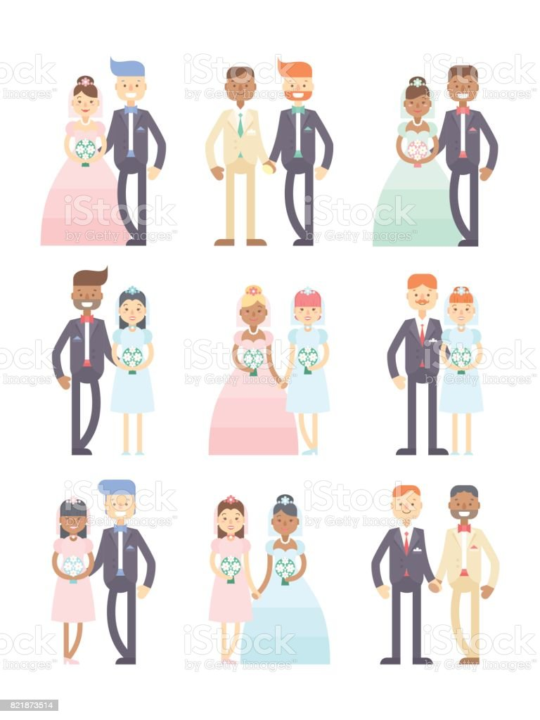Wedding couples vector set of flat characters vector art illustration