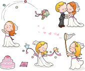 Cute wedding illustrations set.