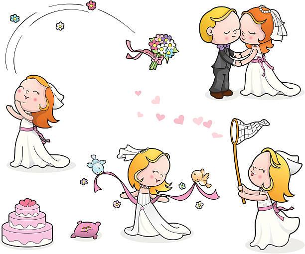 Wedding cute kids set vector art illustration