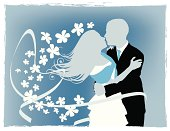 Illustration of a young couple dancing in a wedding.