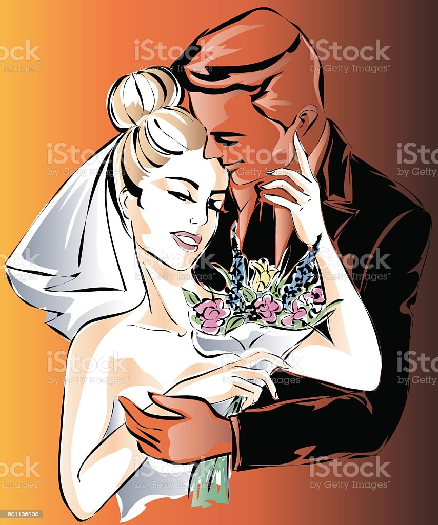 Wedding Day invitation with sweet couple vector vector art illustration