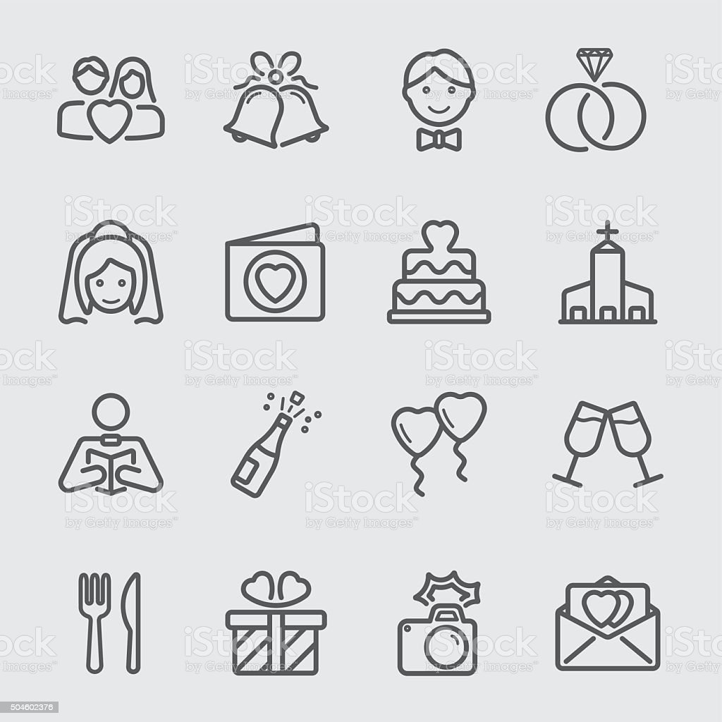Wedding day line icon vector art illustration