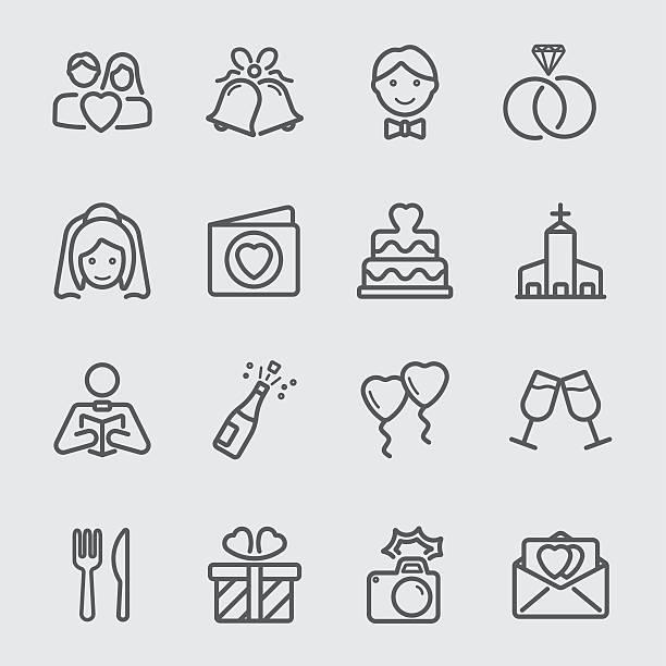 Wedding day line icon vector art illustration