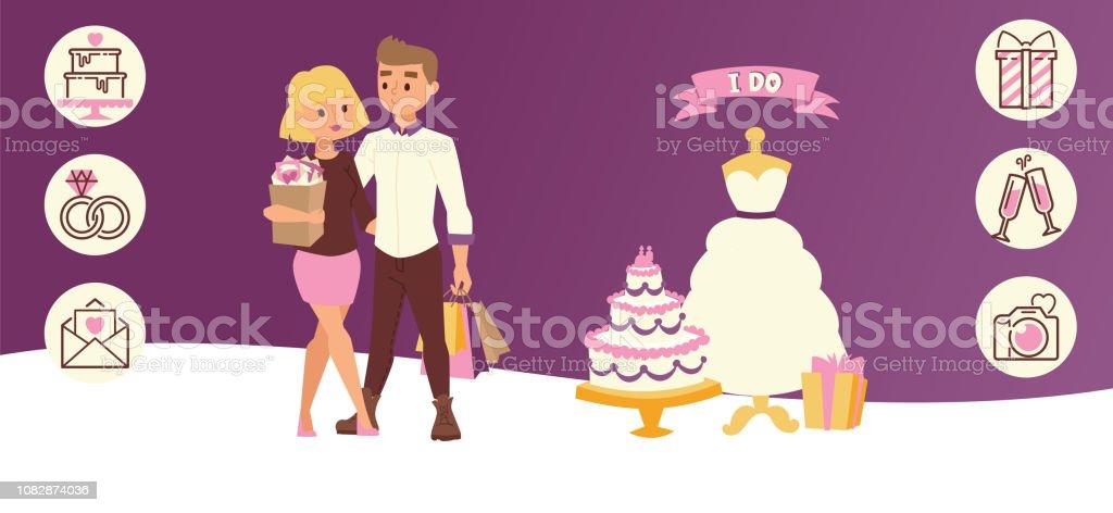 Festa de casamento dia para recém casados ilustração em vetor banner  horizontal par. Atendendo de 2a893788796