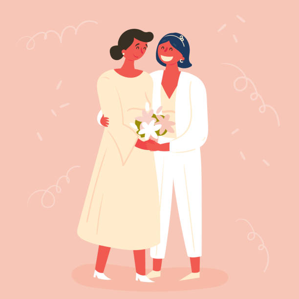 illustrazioni stock, clip art, cartoni animati e icone di tendenza di wedding day, two brides. lesbian couple marriage - coppia gay