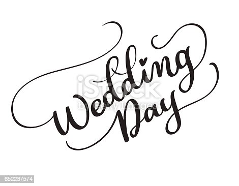Wedding Day Vector Text On White Background Calligraphy