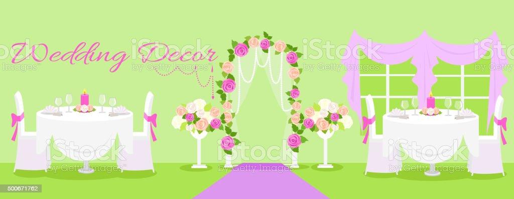 Décoration De Mariage De La Mode Intérieur Stock Vecteur Libres de ...