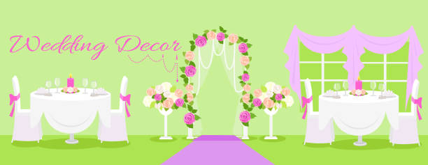 Wedding decor fashion interior Wedding decor fashion interior. Wedding decoration, wedding table, wedding flowers, wedding design, interior and reception, fashion elegant, event and decoration illustration trillium stock illustrations