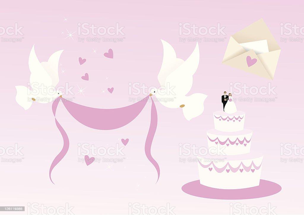 Elementos de design de casamento - ilustração de arte em vetor