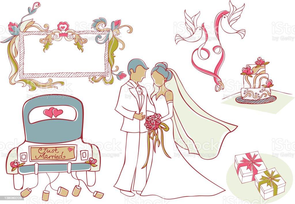 Wedding Design Elements vector art illustration