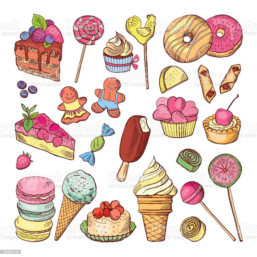 Tatlılar Düğün Tatlı Kek Ve Dondurma Stil Elinde çizilmiş Boyama