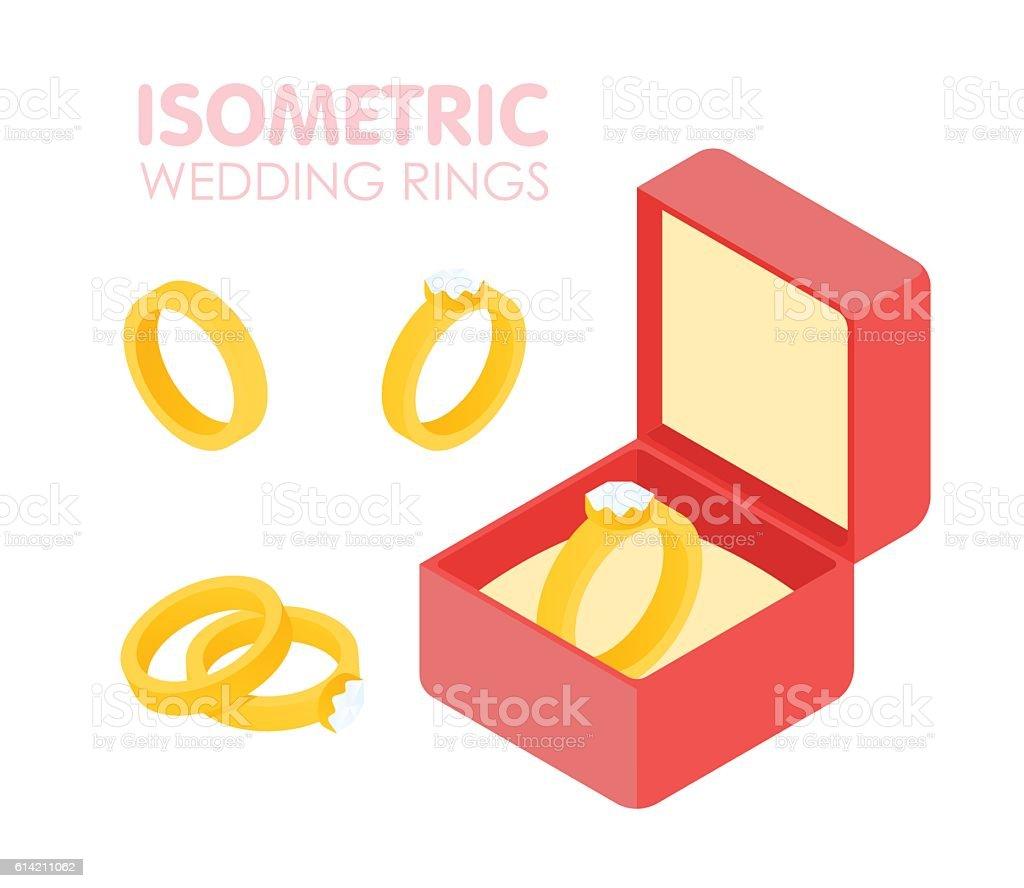 Wedding diamond ring in a box isometric set. Vector illustration vector art illustration