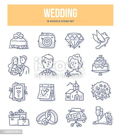 Wedding & marriage doodle icons collection. Vector illustrations for website and printing materials