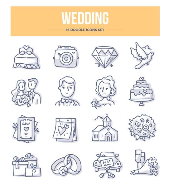 hochzeit-doodle-symbole - kirchenschmuck stock-grafiken, -clipart, -cartoons und -symbole