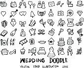 Wedding doodles sketch vector icon ink.