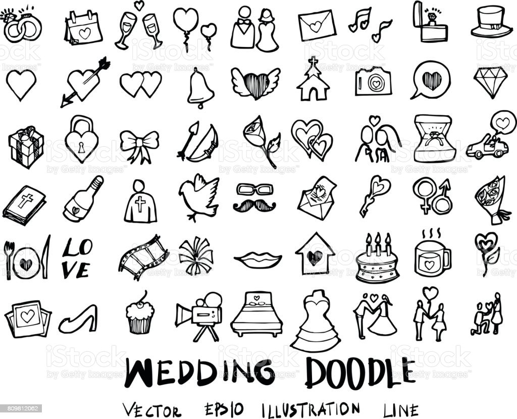 Wedding doodles sketch vector icon ink eps10 vector art illustration