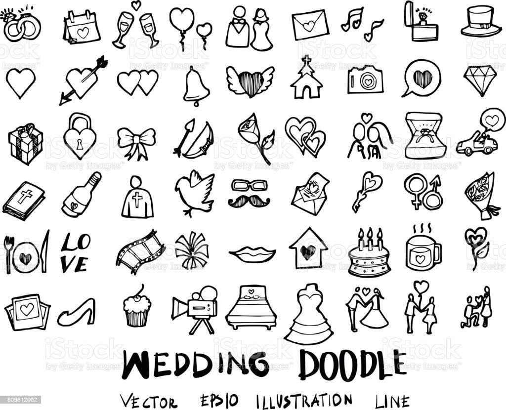 Mariage doodles esquisse vecteur icône d'encre eps10 - Illustration vectorielle
