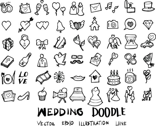 Wedding doodles sketch vector icon ink eps10 vector art illustration