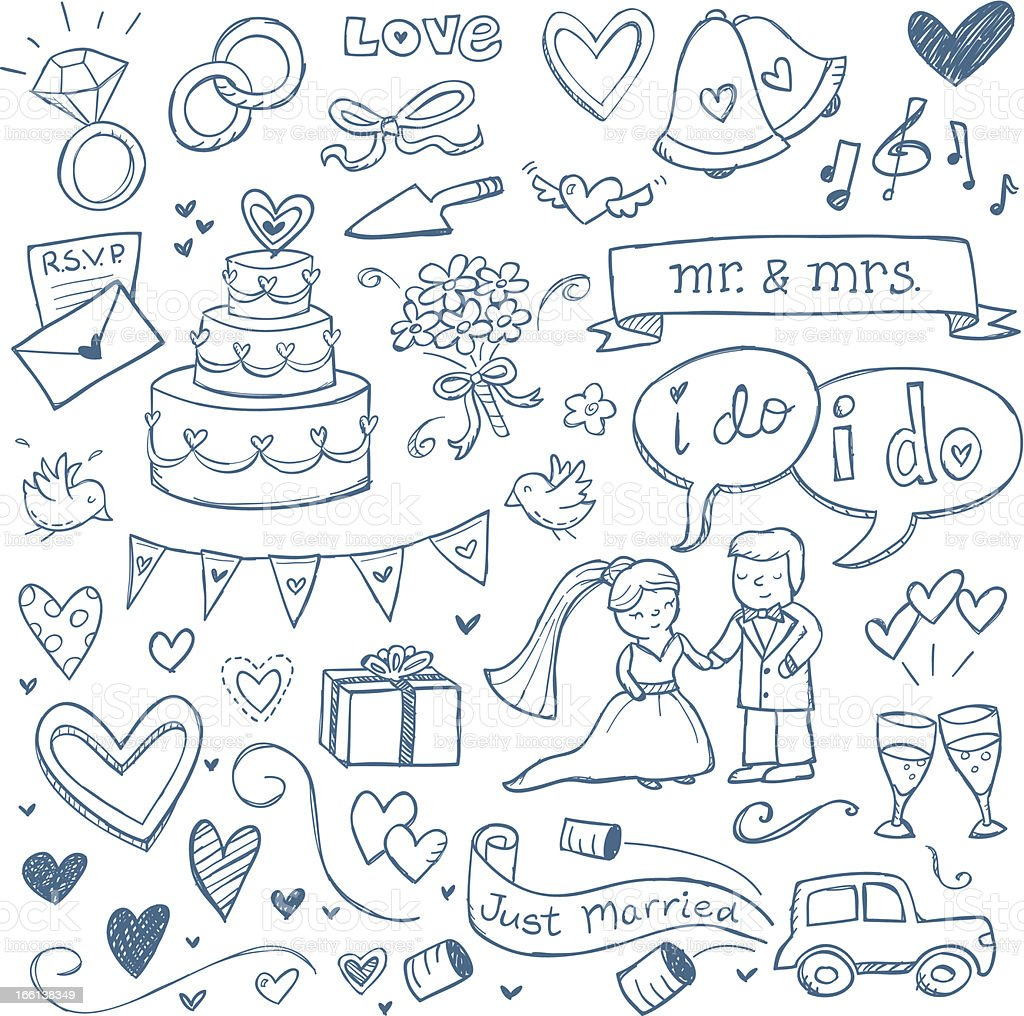 Wedding Doodles vector art illustration