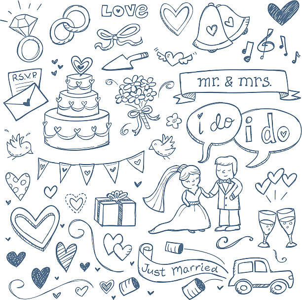 Wedding Doodles Wedding illustrations drawn in a doodled style. bridegroom stock illustrations