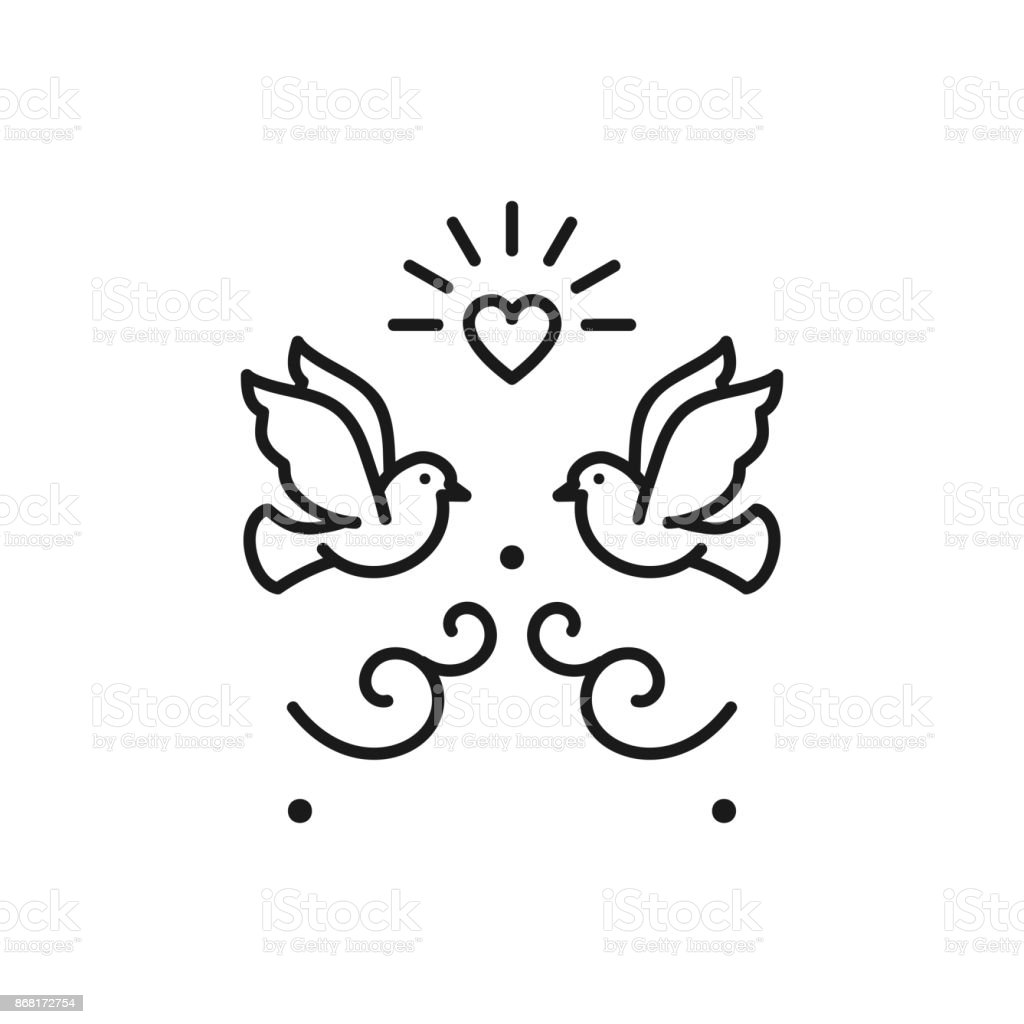Wedding doves Birds icons. Valentines day love sign, Vector flat illustration vector art illustration