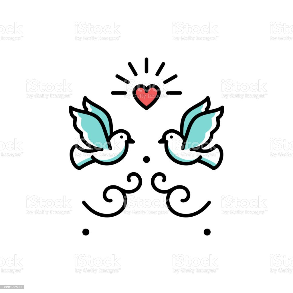 Wedding Doves Love Birds Icons Wedding Couple Signs Valentines Day