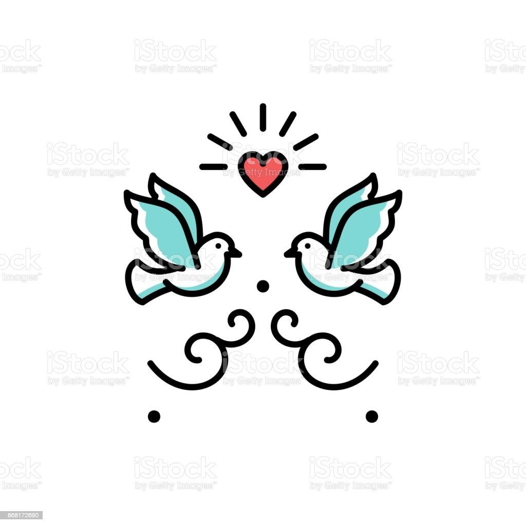 結婚式鳩の愛の鳥アイコン。結婚式のカップル標識、バレンタインデー ライン シンボル ベクトル フラット図 ベクターアートイラスト